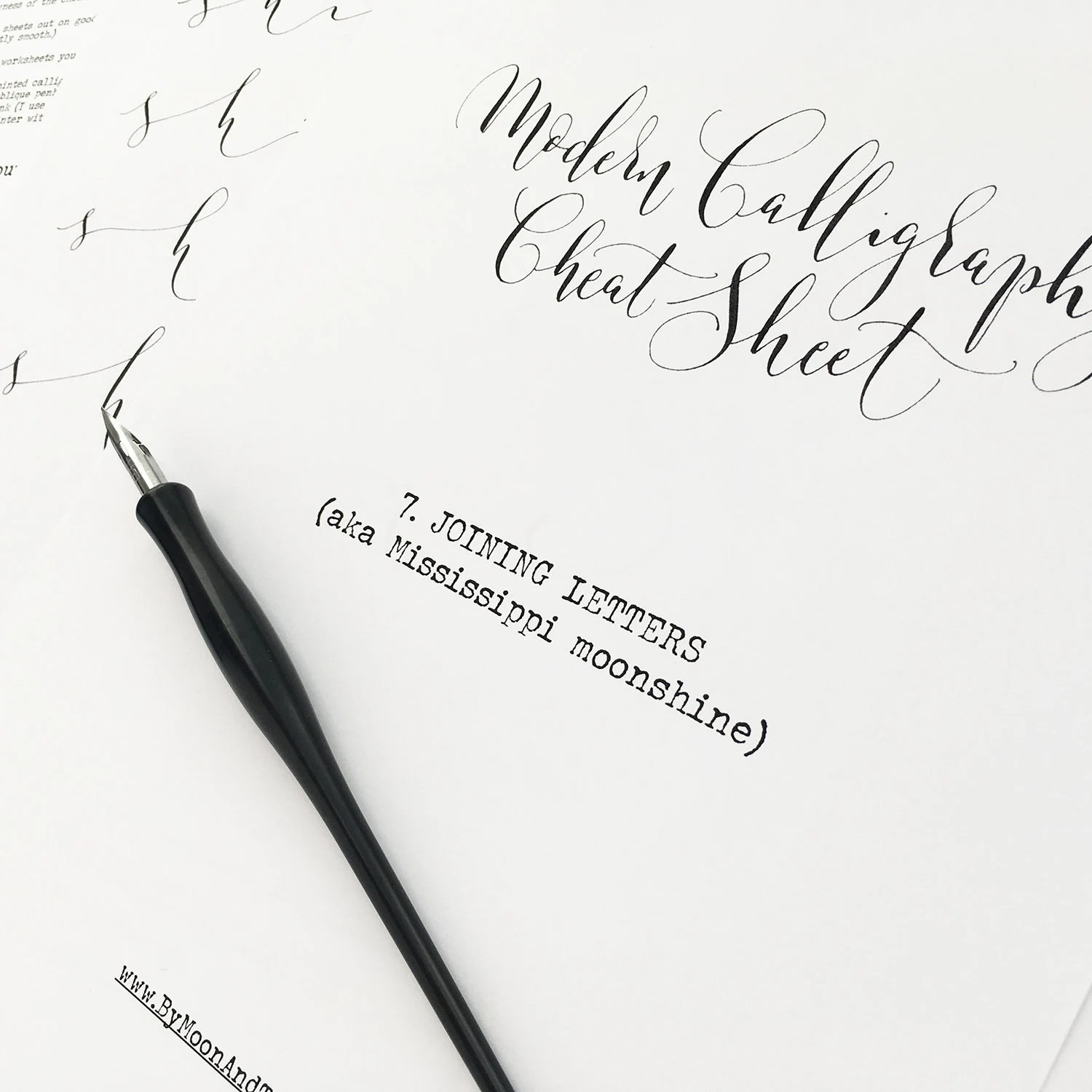 Calligraphy Cheat Sheet 7 Of 9 Joining Letters Instant
