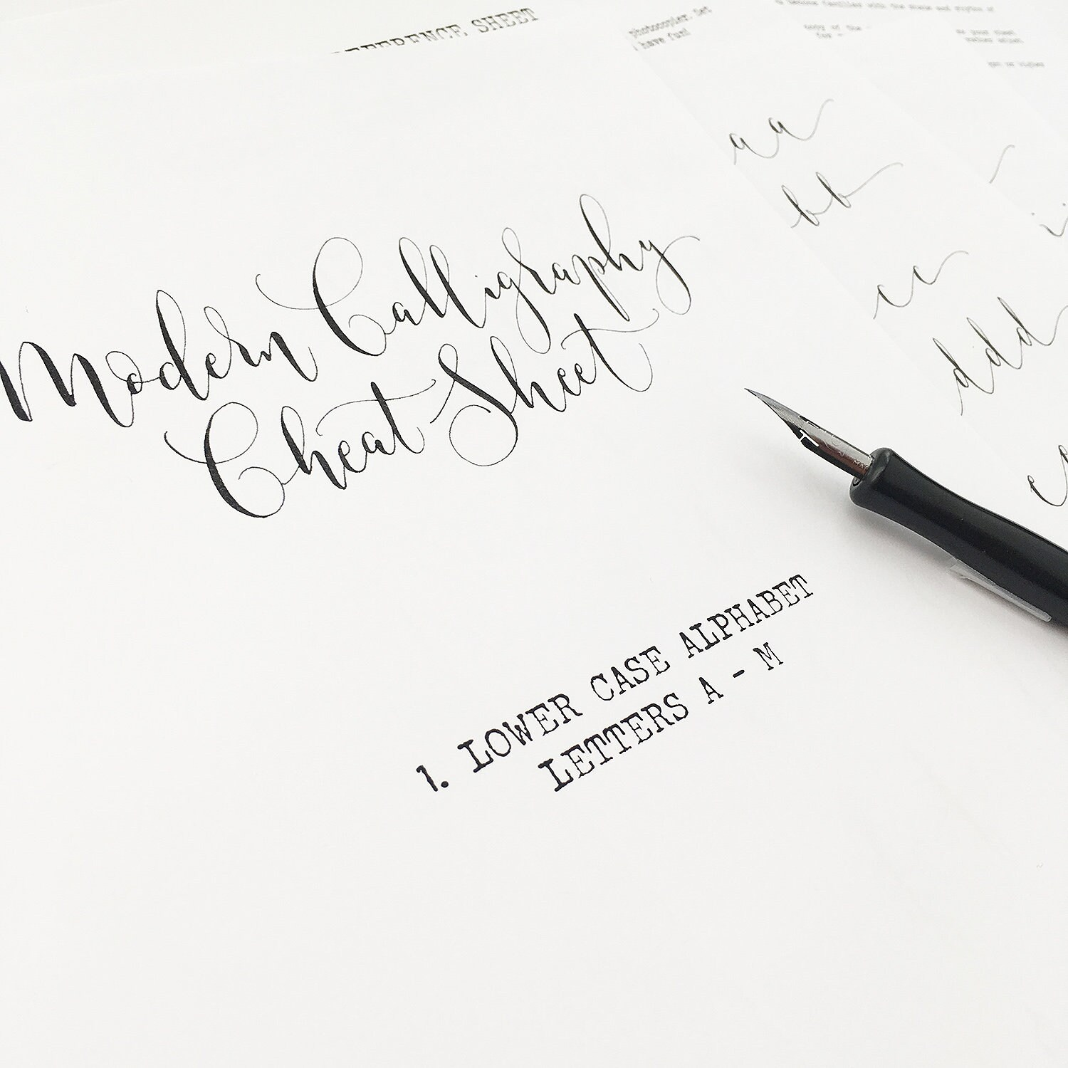 Calligraphy Cheat Sheet 1 Of 9 Lower Case Letters A To M