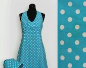 1960s Blue Polka Dot Halt...