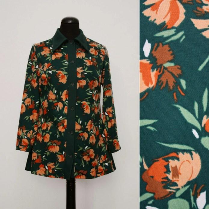 1970s Green & Peach Flora...