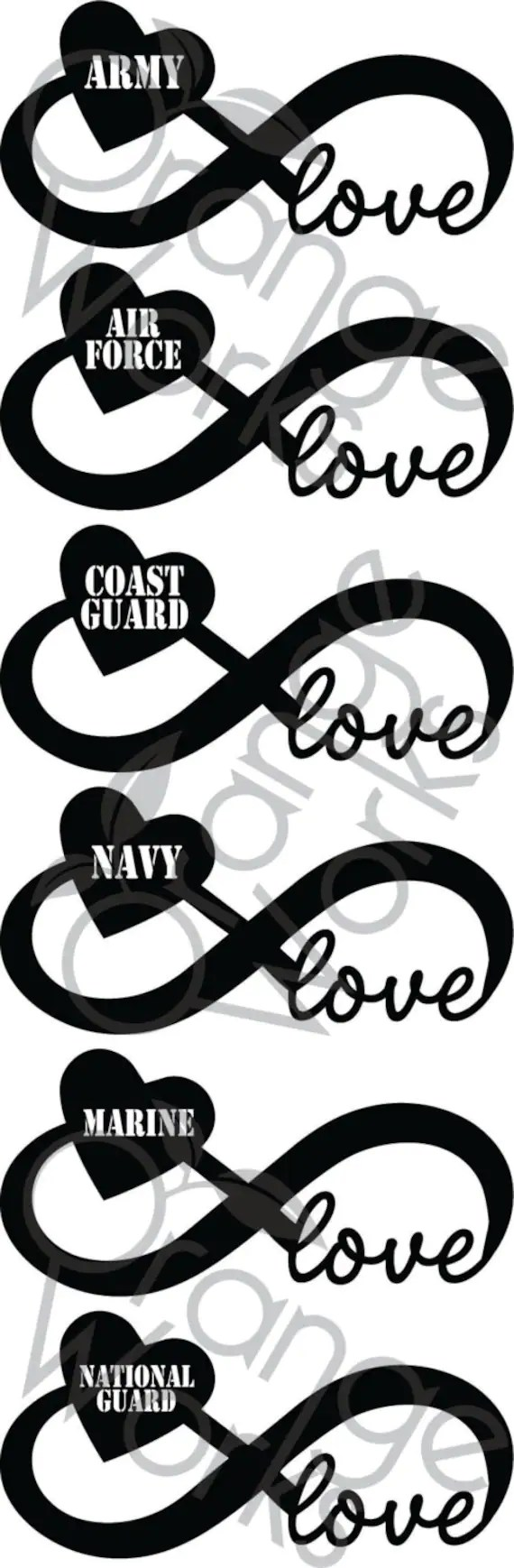 Download Items similar to Military Infinity Love SET SVG on Etsy