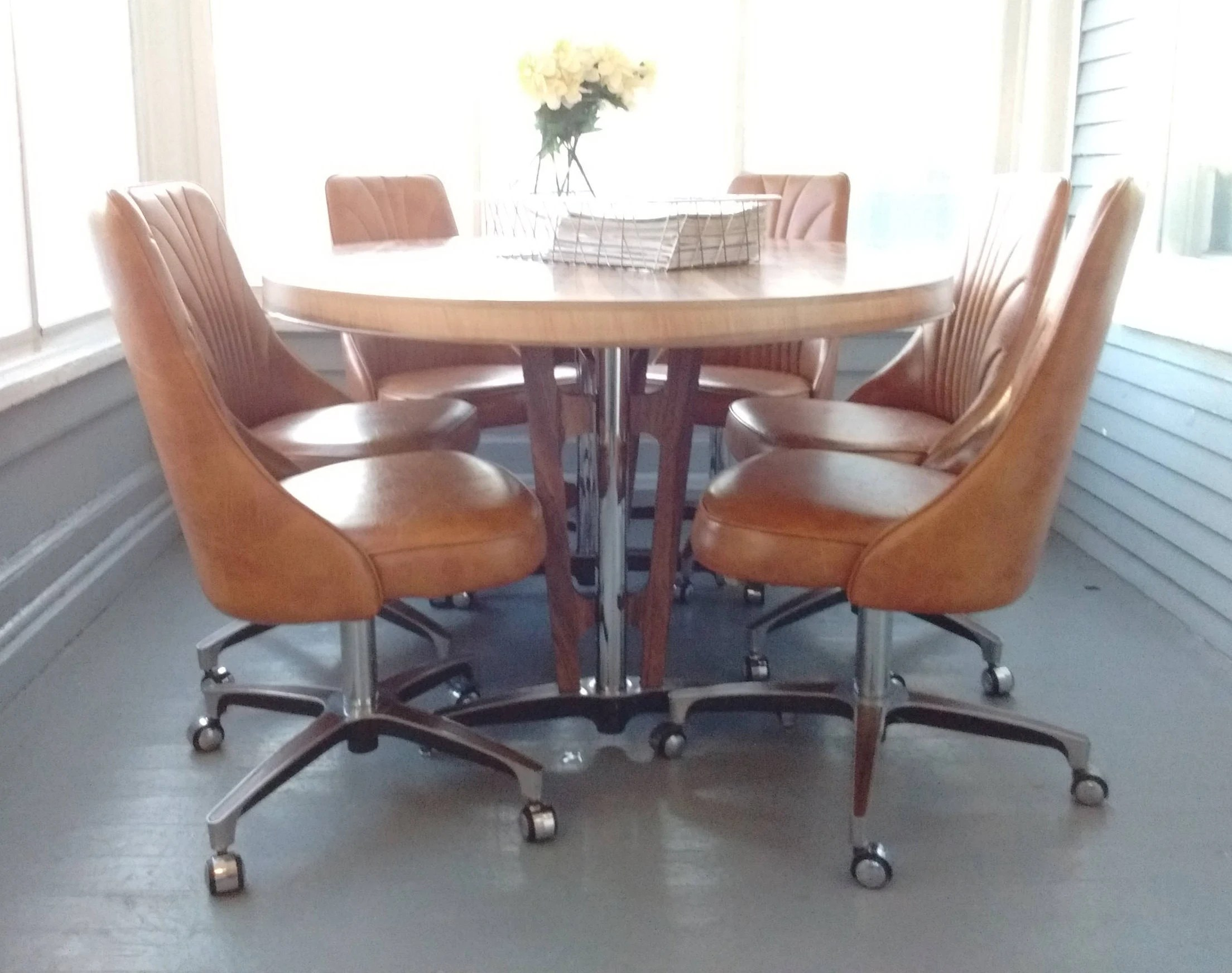 Retro Dining Set Table And Chairs 70s Chromecraft Pedestal Table Metal Oval Table Rolling Chairs Vinyl Chairs Rhymeswithdaughter
