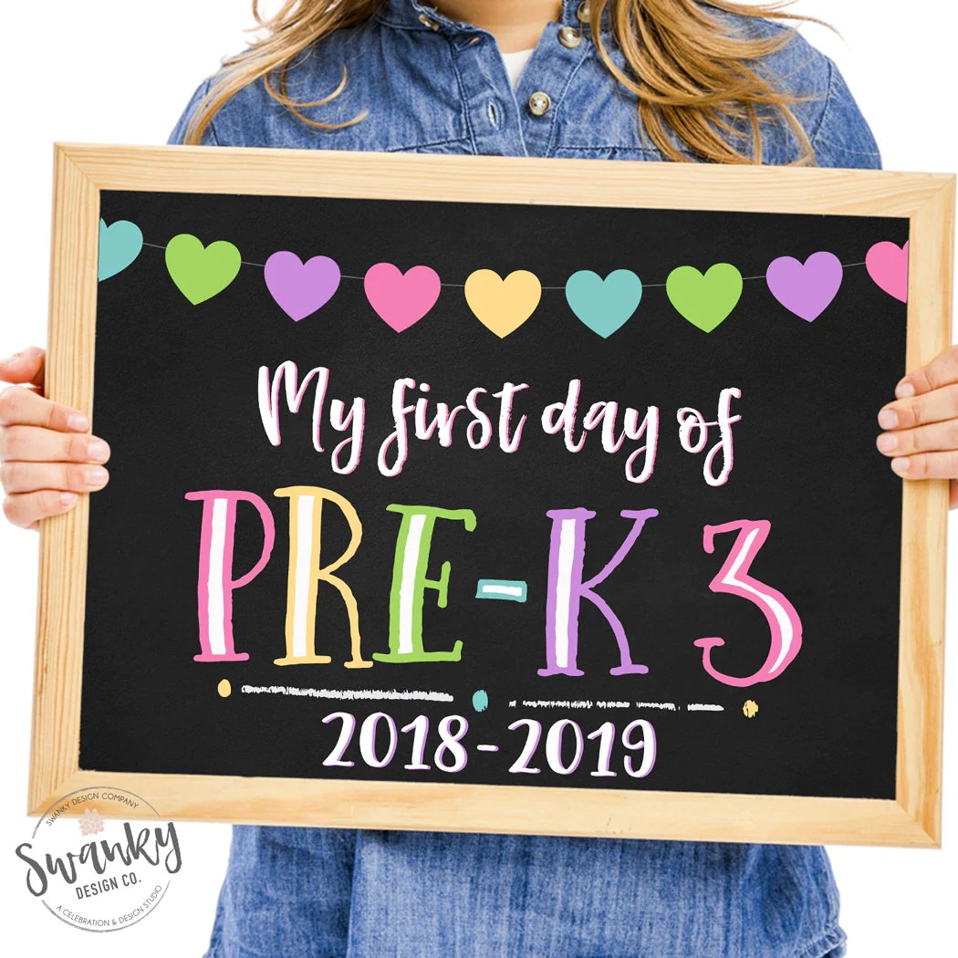 First Day Of Pre K 3 Printable First Day Pre K 3 Sign 3
