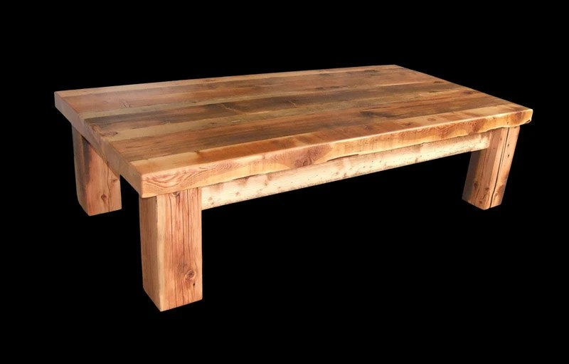 reclaimed barnwood heavy timber coffee table freight not included