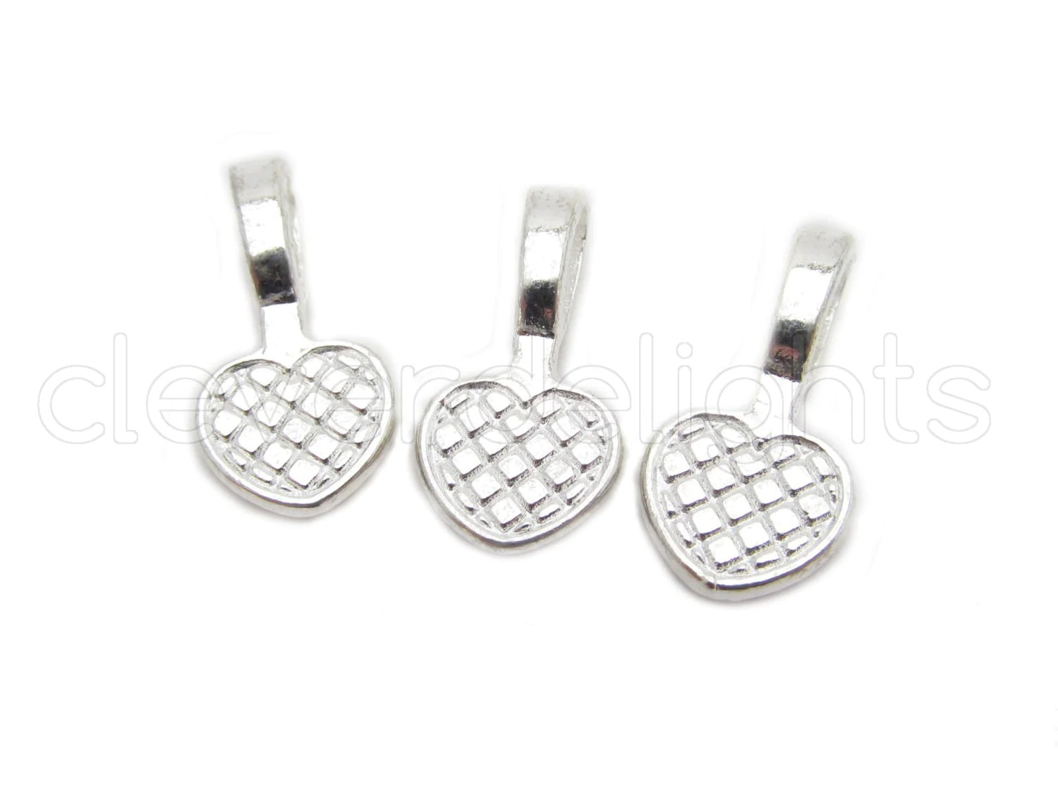 50 Heart Bails 20x10mm Shiny Silver Color Medium Glue On