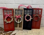Holiday Door Ornament / Proposal Ornament / Red Door Ornament / Craftsman Christmas Tree / Wooden door ornament / Stay Home Ornament