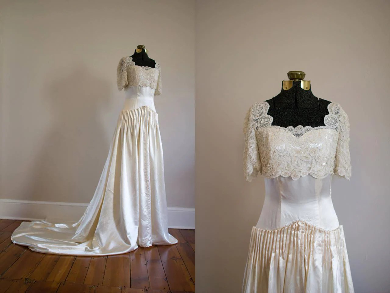 Couture 1940's Brussels Lace And Satin Wedding Gown/ Jay