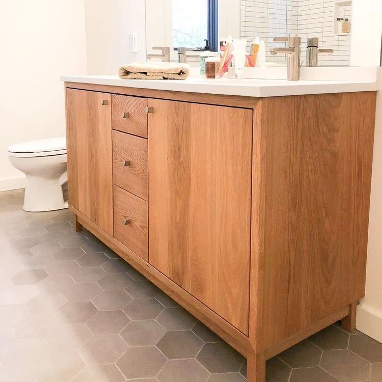 60 solid wood double sink vanity modern vanity console
