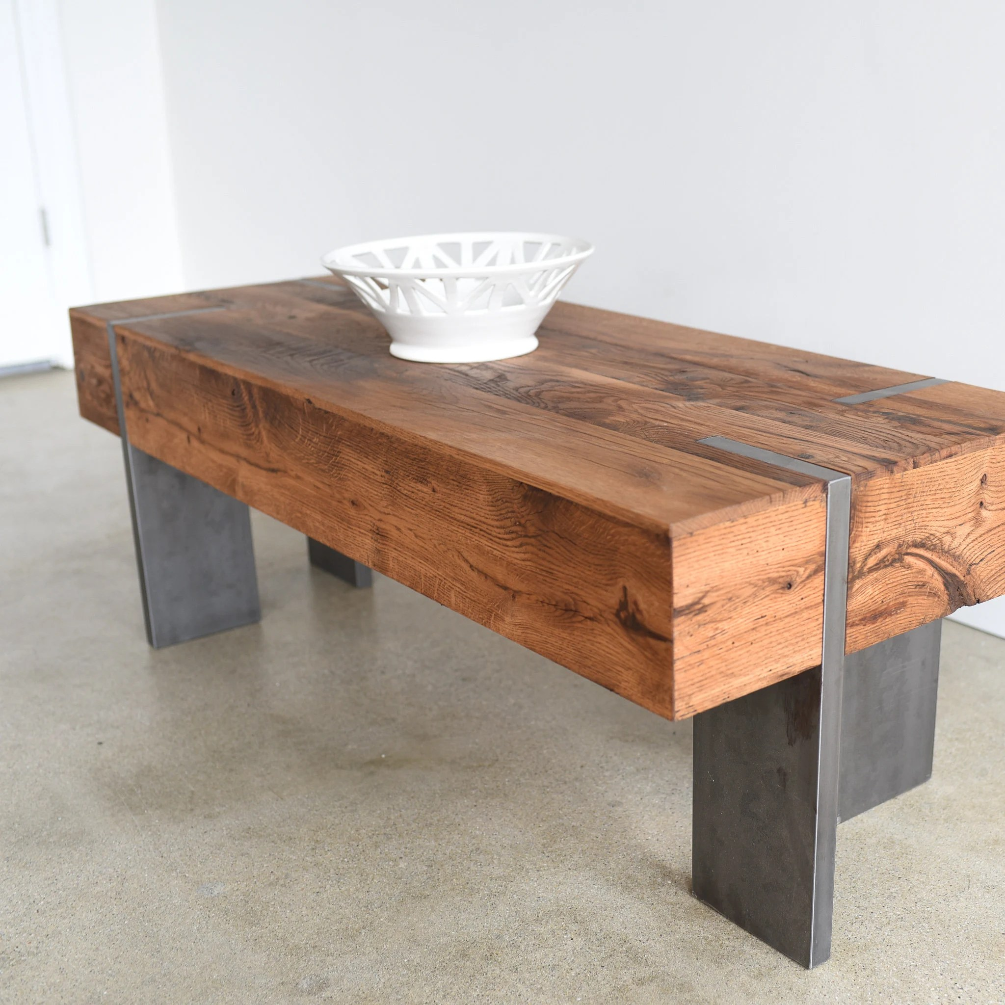 rectangle coffee table modern reclaimed wood coffee table with solid steel legs