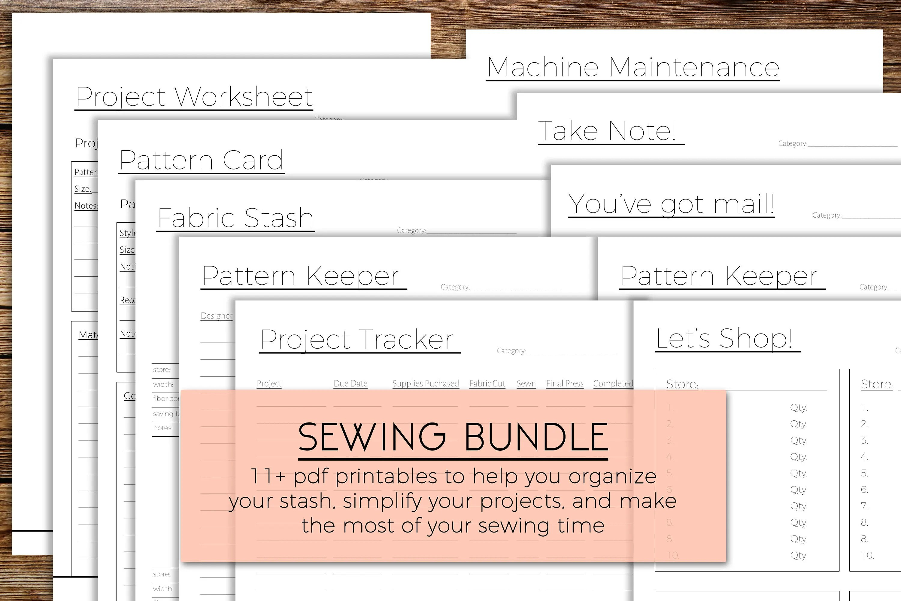 Sewing Organization Printables Bundle Sewing Tracker