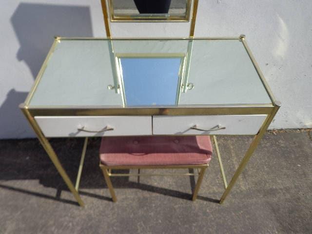 2PC Vanity Table Hollywood Regency Brass Gold Desk Mirror