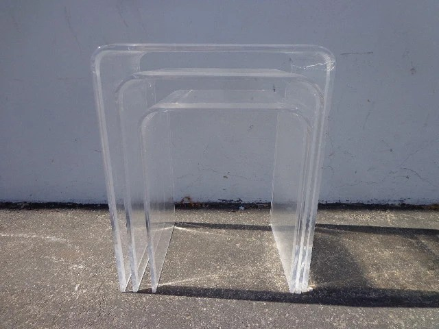 Lucite Nesting Tables Mid Century Modern Accent Side End