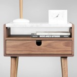 Mid Century Nightstand Bedside Table With Drawer In Walnut And Carrara Marble Top