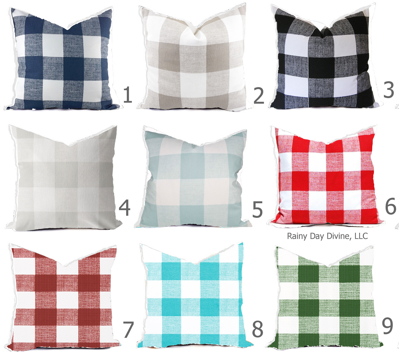 outdoor pillows covers buffalo check