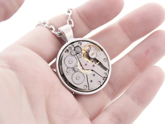 "Unisex Steampunk ""Watch Movement"" Pendant Necklace."