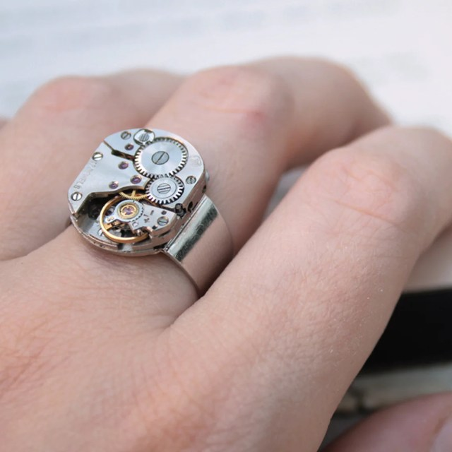Mens Pinky Ring, Steampunk Ring, Steampunk Signet, Simple Silver Watch Movement Ring.