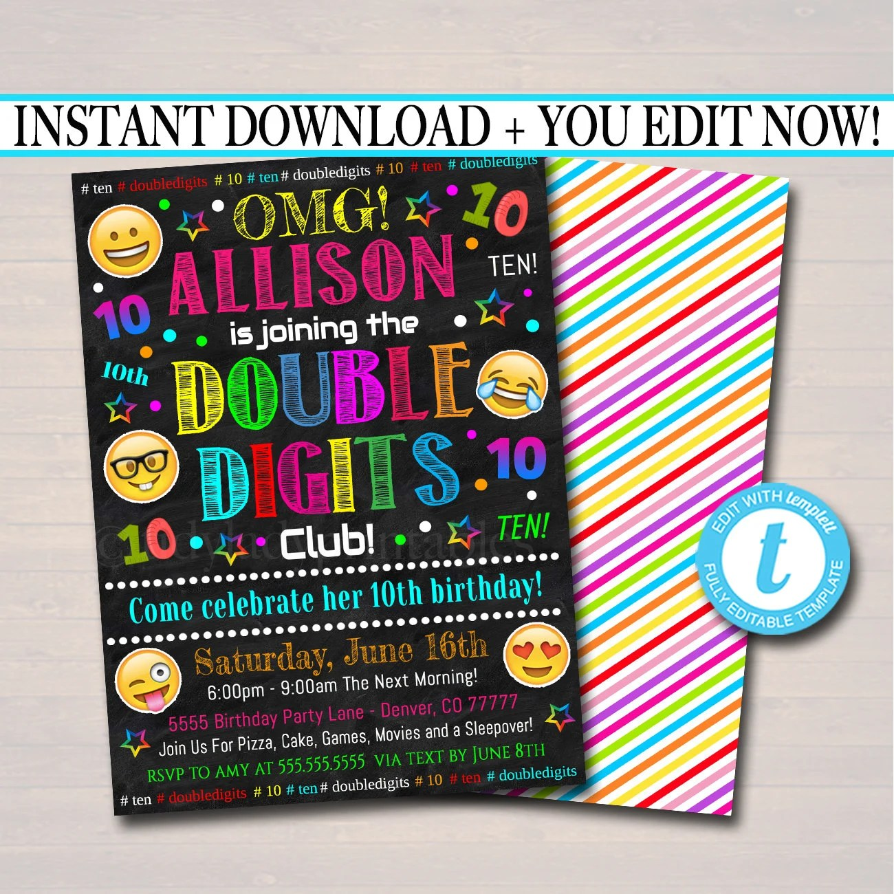 editable double digits club party