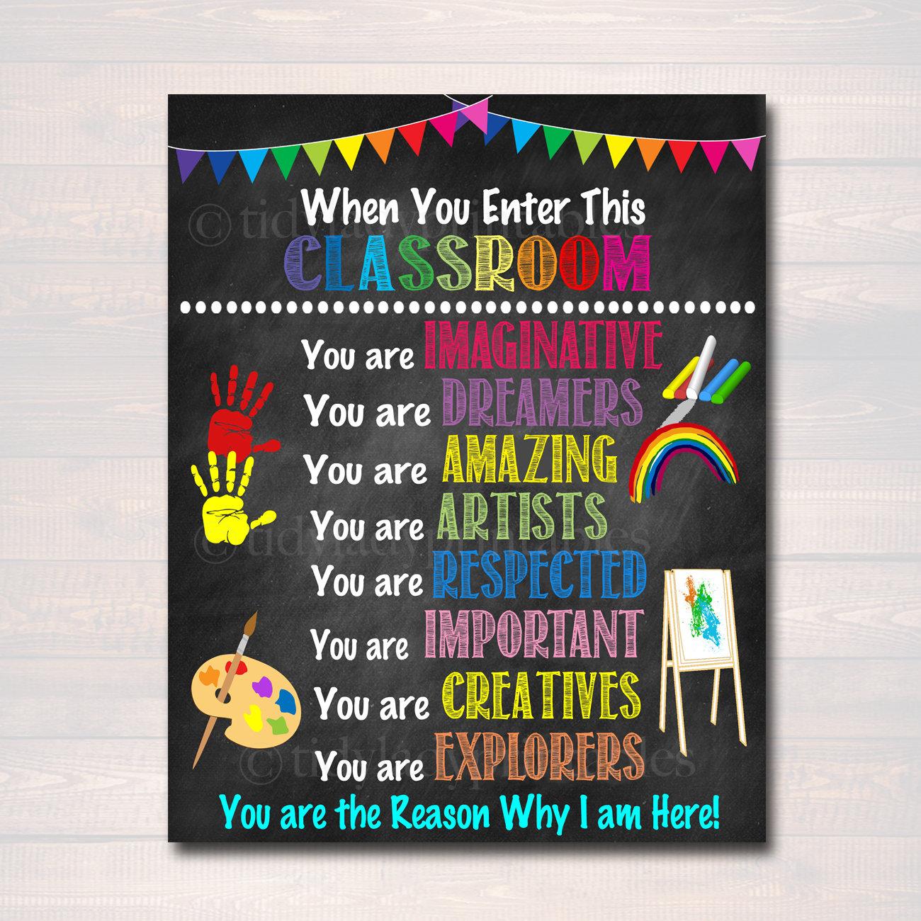 Art Teacher Printable Poster Classroom Decor Kindergarten