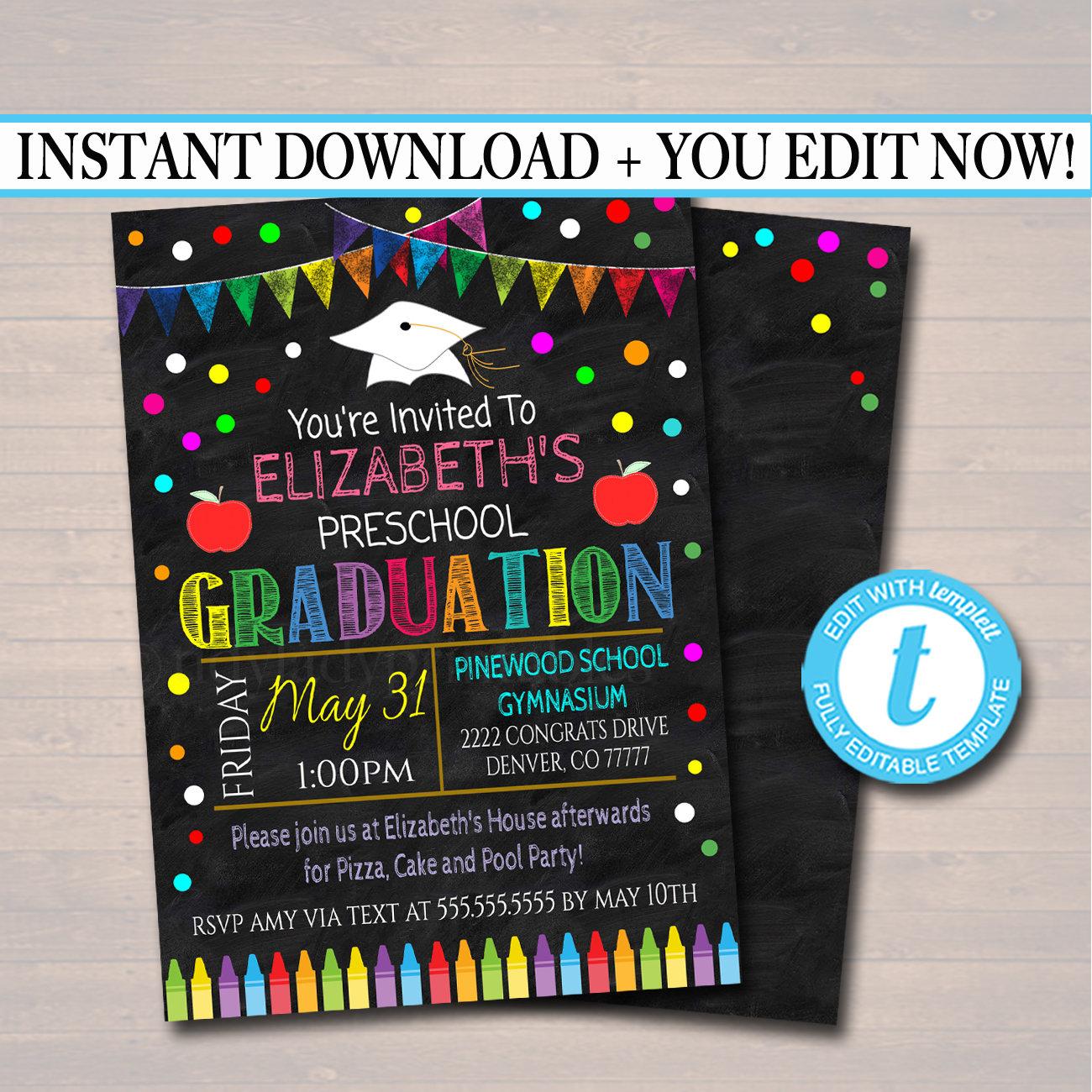 Editable Graduation Invitation Chalkboard Printable