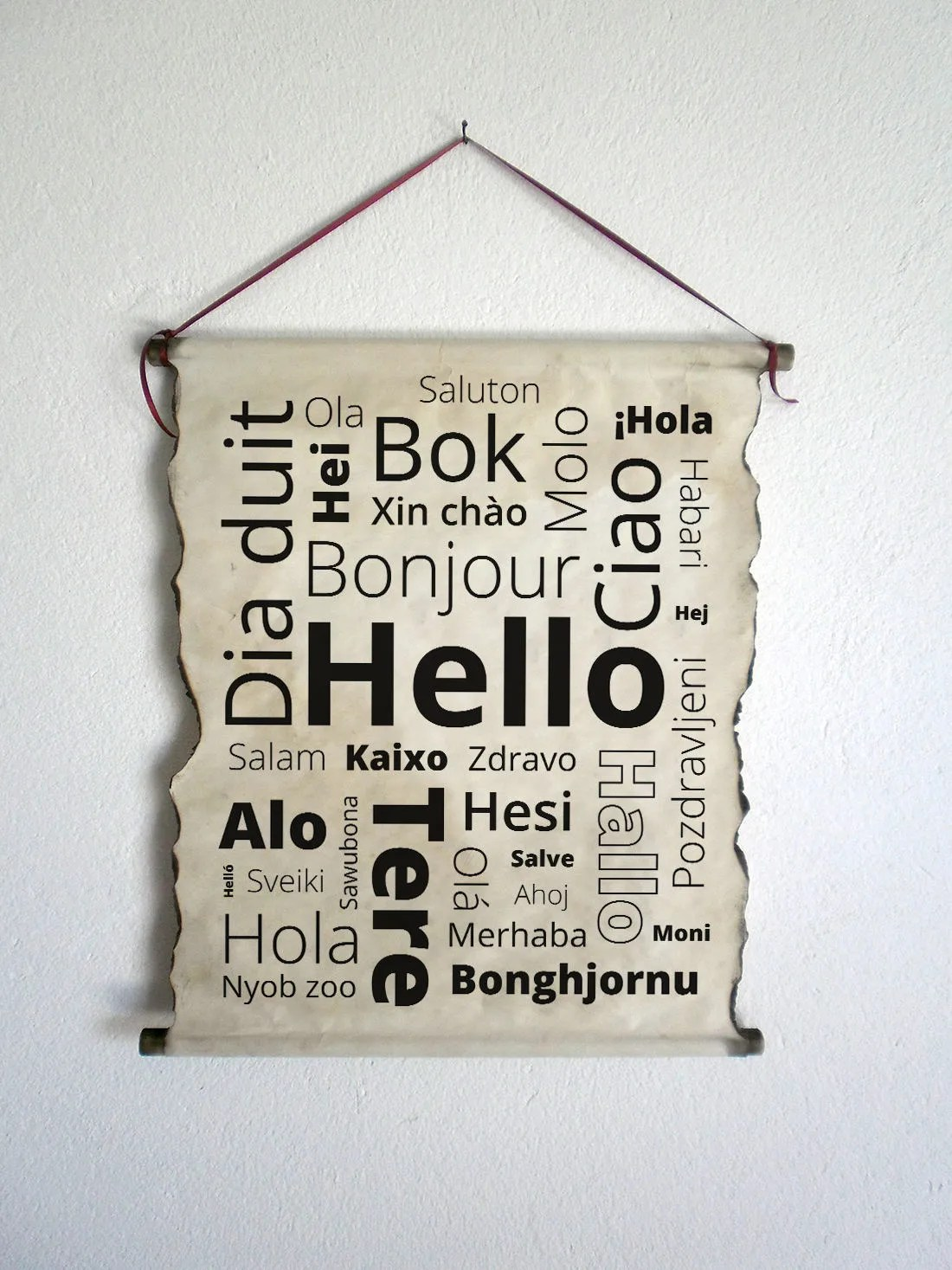 Hello In Over 30 Different Languages Handmade Scroll