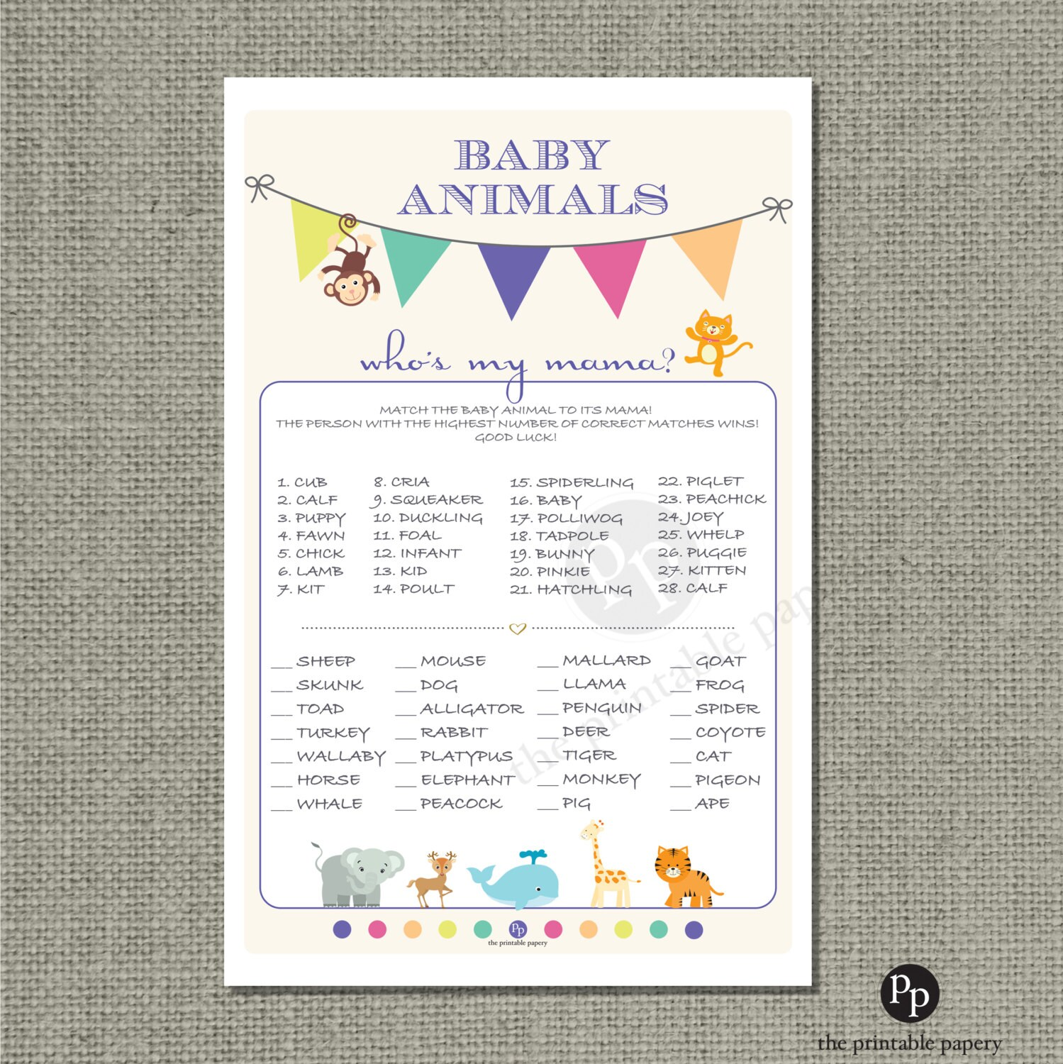 Printable Animal Matching Game Baby Shower Baby To Mom