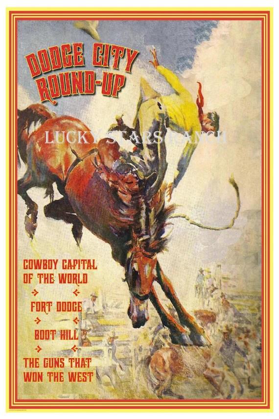 cowboy rodeo poster dodge city kansas 18x24 vintage print