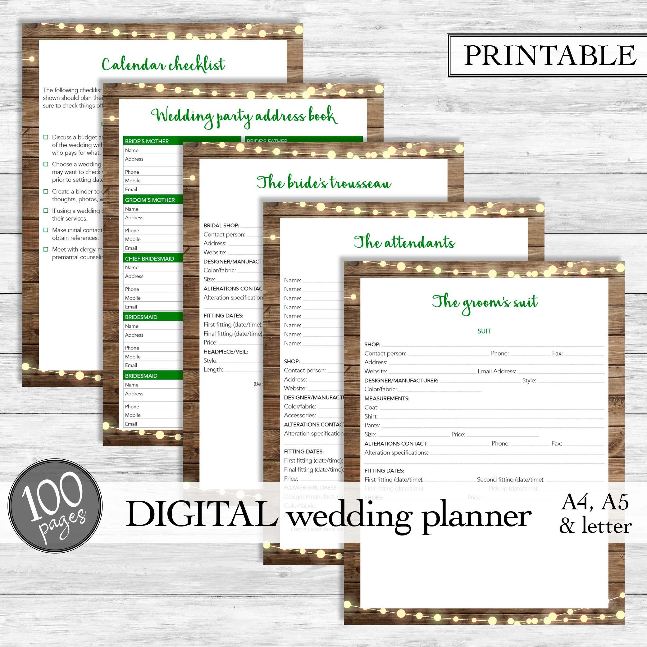 Printable Wedding Planner Instant Download Wedding