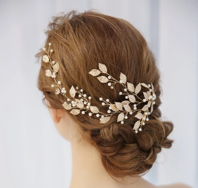 gold leaf wedding head band,floral bridal head piece,garden