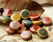 Pack of 10 Flat Round Glazed Ceramic Beads. Different Colours. 14mm Multicoloured Spacers
