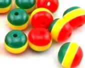 Pack of 50 Round Mini Rasta Colours Stripe Beads. 12mm Ghana Jamaica Reggae Spacers.