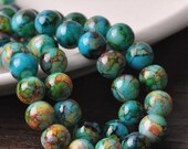 Pack of 25 Round Mottled Glass Beads. 10mm Assorted Multicoloured Ball Spacers