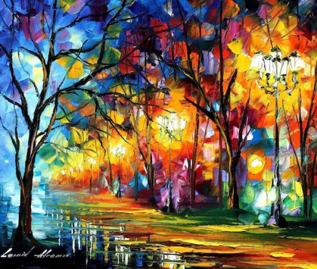 Famous Artists Paintings Colorful Landscape Art On Canvas By Leonid Afremov Mystical Alley
