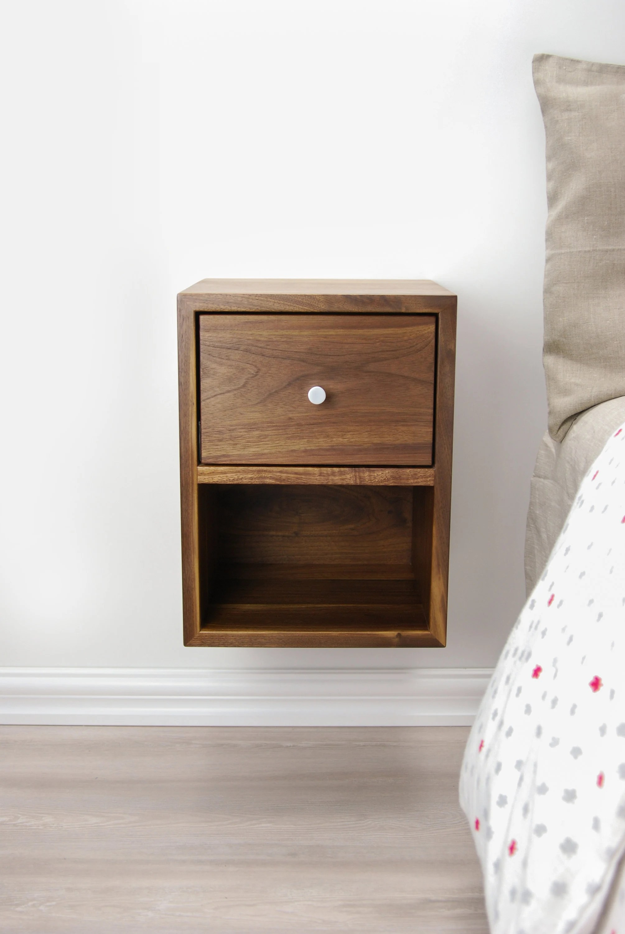 Compact Floating Nightstand With Drawer And Open Shelf Walnut Wood Hanging Bedside Table Scandinavian Mid Century Modern