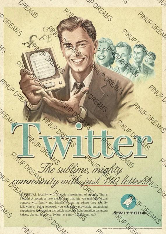 retro vintage poster art twitter drucken verschiedene grossen