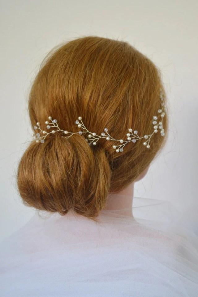 pearl crystal bridal hair vine, wedding hair accessories, swarovski pearl bridal hair piece, elegant wedding hair accessory, bridal hair