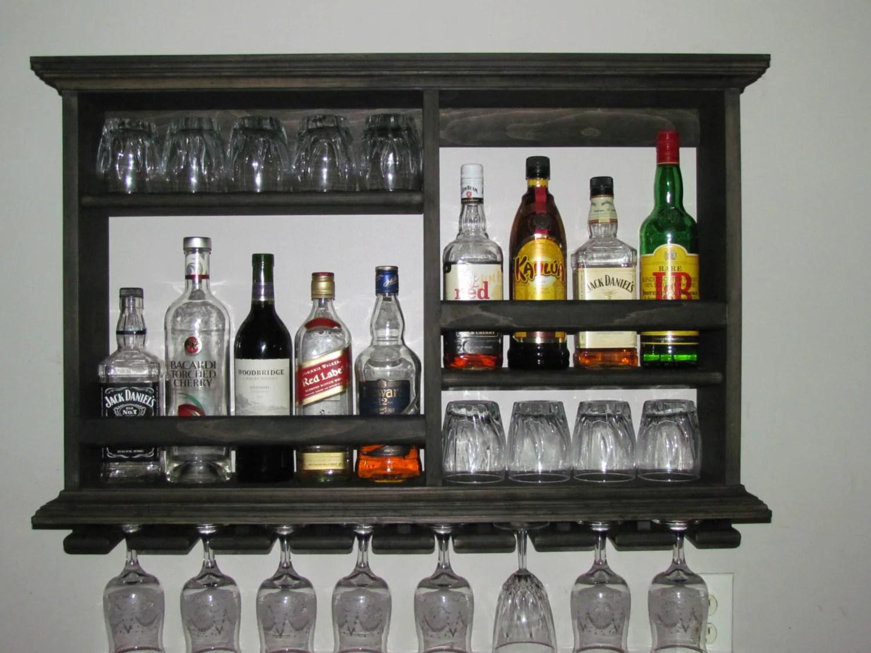 mini bar black stain wine rack liquor cabinet minimalist style 3 x 2 wall mounted bar sku 9bb
