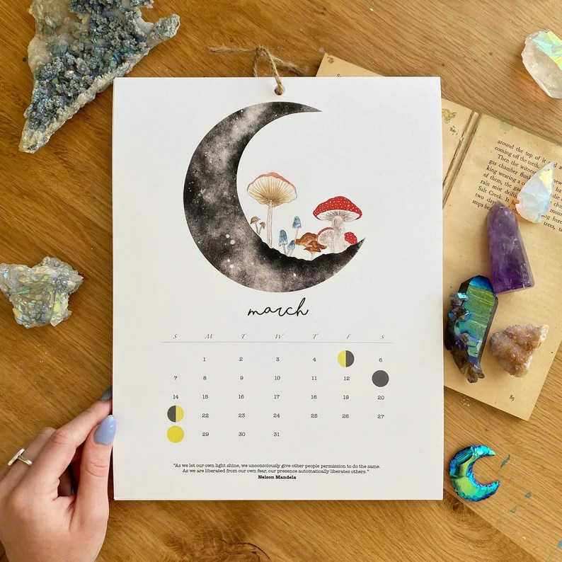 2021 Moon Calendar Watercolor Moon Phases Moon Calendar image 2