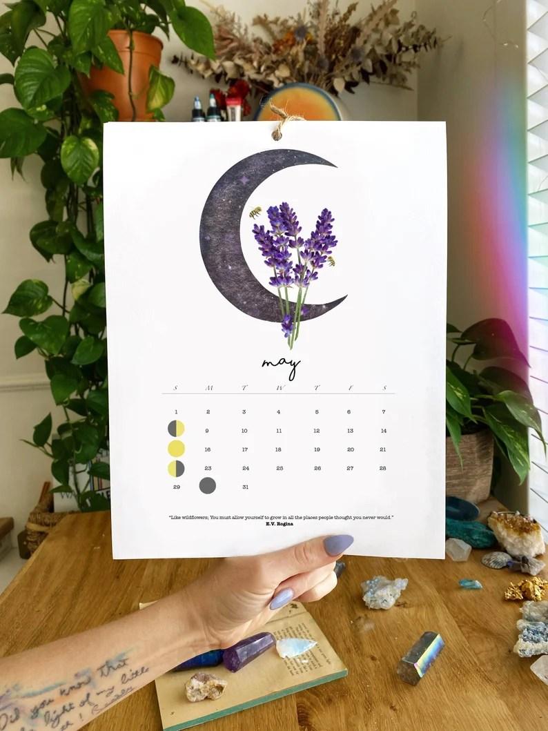 2022 Moon Calendar Watercolor Moon Phases Moon Calendar image 2