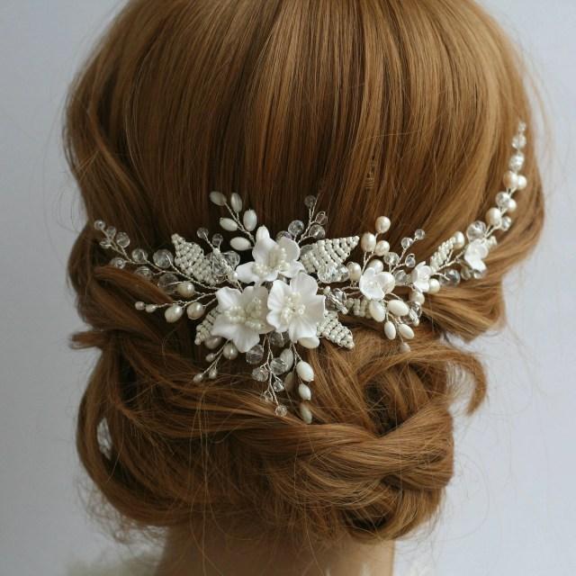 white flower comb wedding hair comb bridal hair comb wedding flower comb bridal hair accessories wedding hair accessories blossom hair
