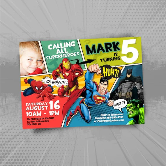 super heros invitation invitation anniversaire a imprimer super heros