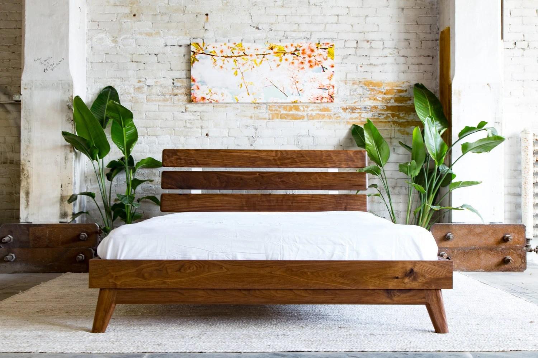 mid century modern bed frame walnut bed frame queen platform bed platform bed frame the stowe