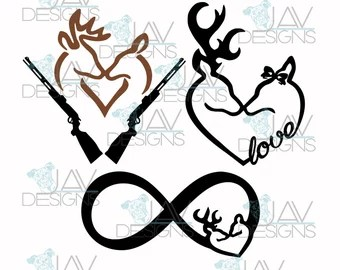 Download Browning Love Heart Deer Buck and Doe vinyl decal