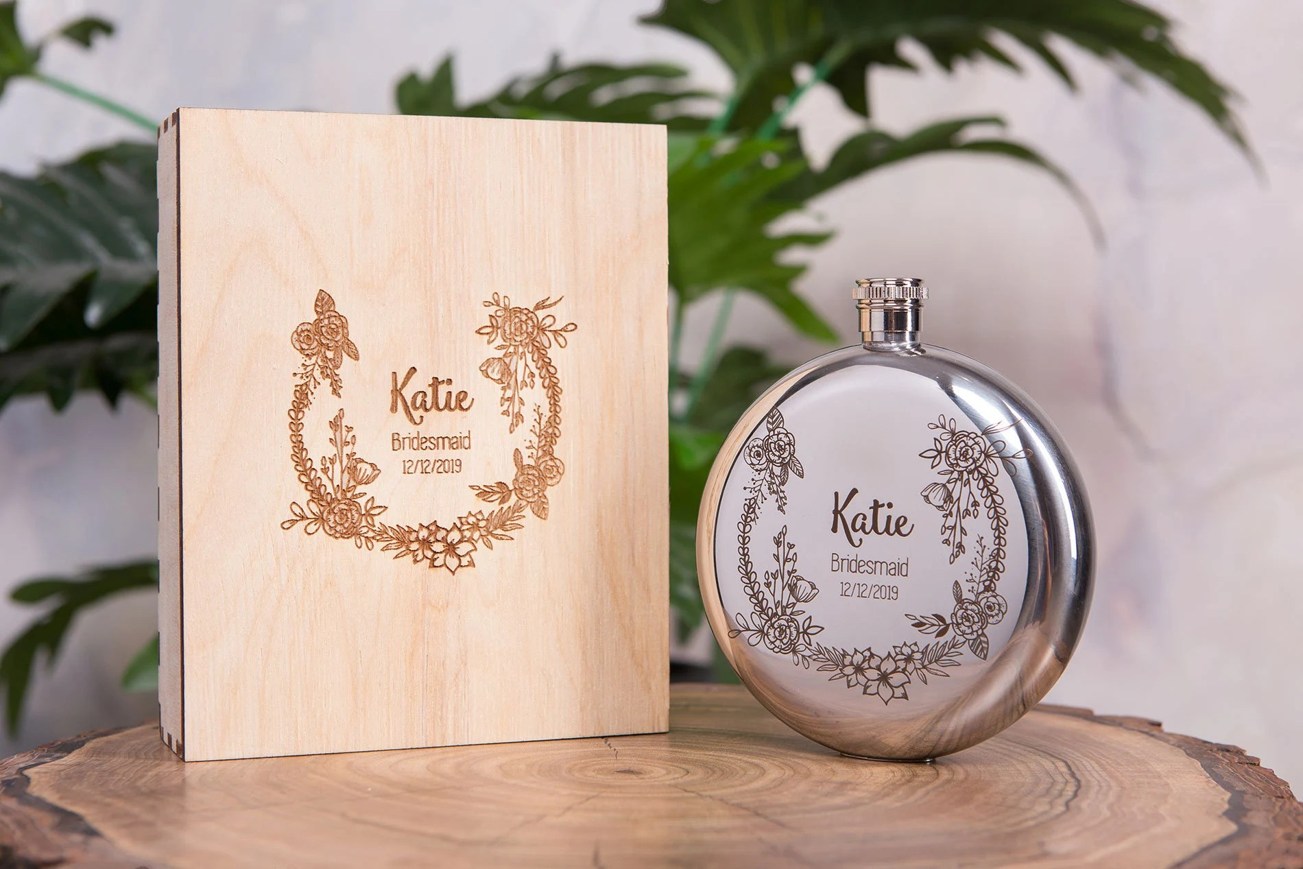 Personalized Flask for Women  Bridesmaid Flask  Optional image 1