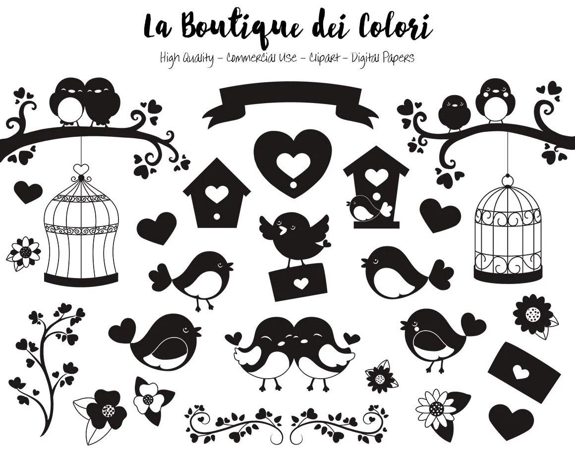 Valentine S Day Birds Silhouette Clipart Cute Digital