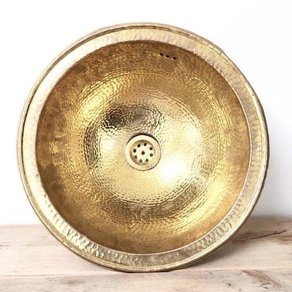 30 35cm moroccan sink hammered brass gold color