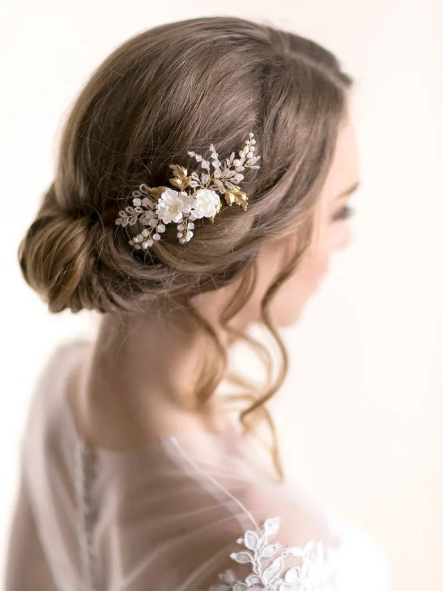 floral bridal hair comb with silk flowers and vine leaves - bridal hair accessory - flower wedding headpiece - rose gold comb