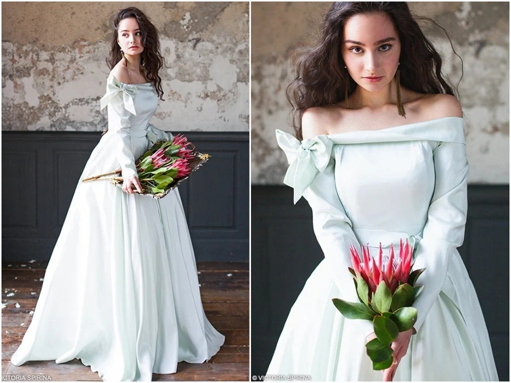 Adelphi / Quinceanera Mint Wedding Dress Open Shoulders