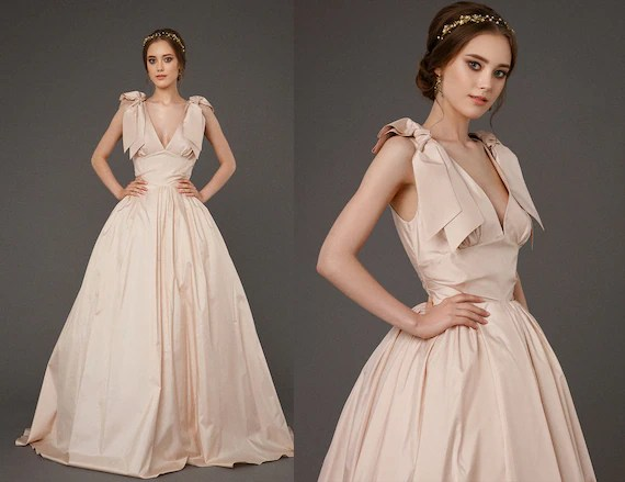 EVA / Taffeta Pink Wedding Dress Ball Gown Wedding Dress
