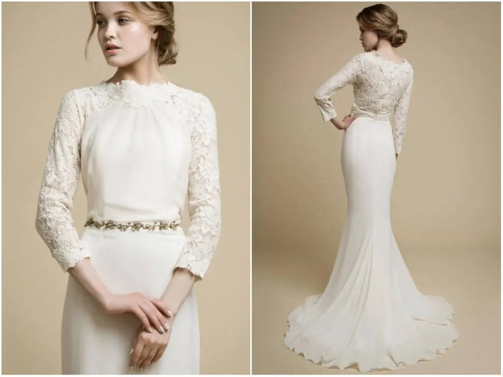 APAKENA Long Sleeve Wedding Dress Boho Wedding Dress Lace