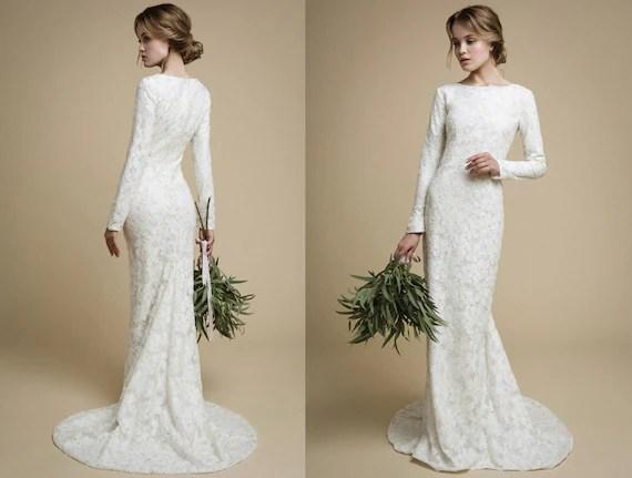 UTTA / Long Sleeves Wedding Dress Elegant Tight Fit